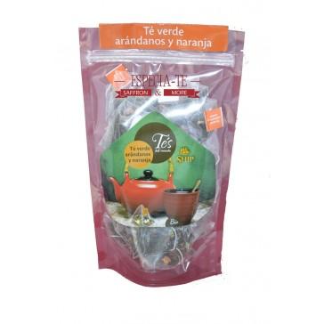 Té verde arándanos y naranja 40 pirámides de té