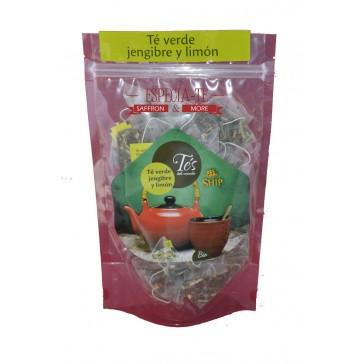 Té verde jengibre y limón 40 pirámides de té