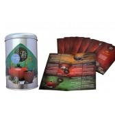 Lata metal para pirámides de té + carta sabores+pegatina sabor